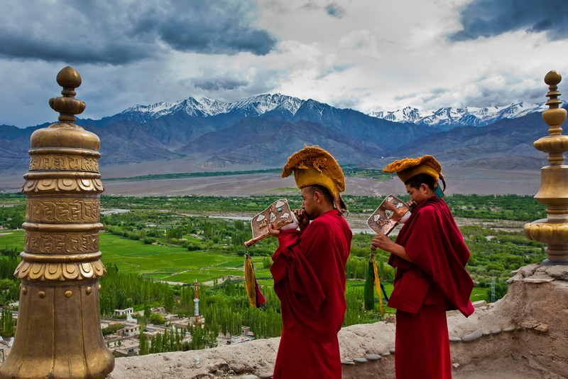 two young monks at the valley