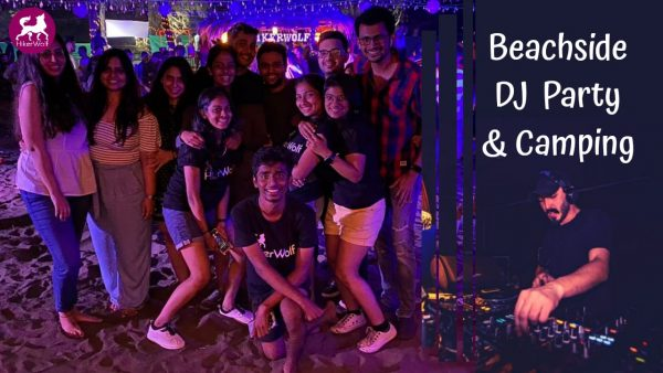 A Group Of Friends Enjoying Camping And Beachside DJ party -Alibaug Camping
