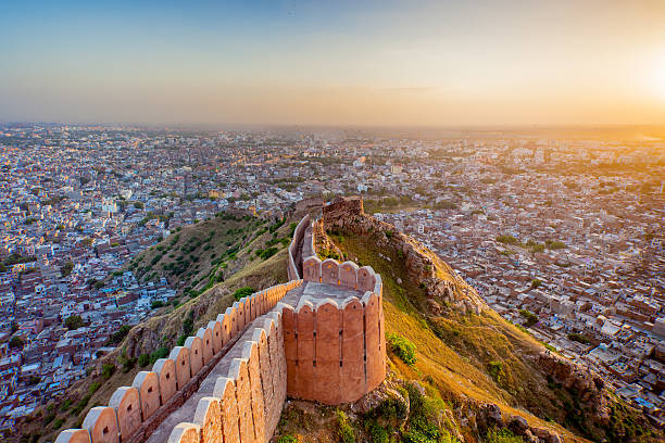 Aerial view of Jaipur from the majestic Nahargarh Fort at sunset
